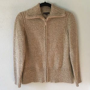 Carolyn Taylor Tan Zip-Up Cardigan